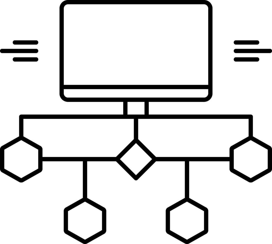 icono de línea para diagrama de flujo vector
