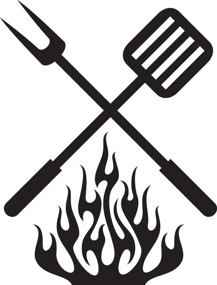 Ilustración de vector de diseño de fuego de parrilla