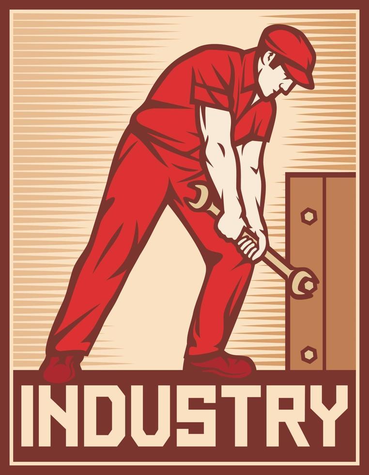 Trabajador sosteniendo ilustración de vector de cartel de industria de llave