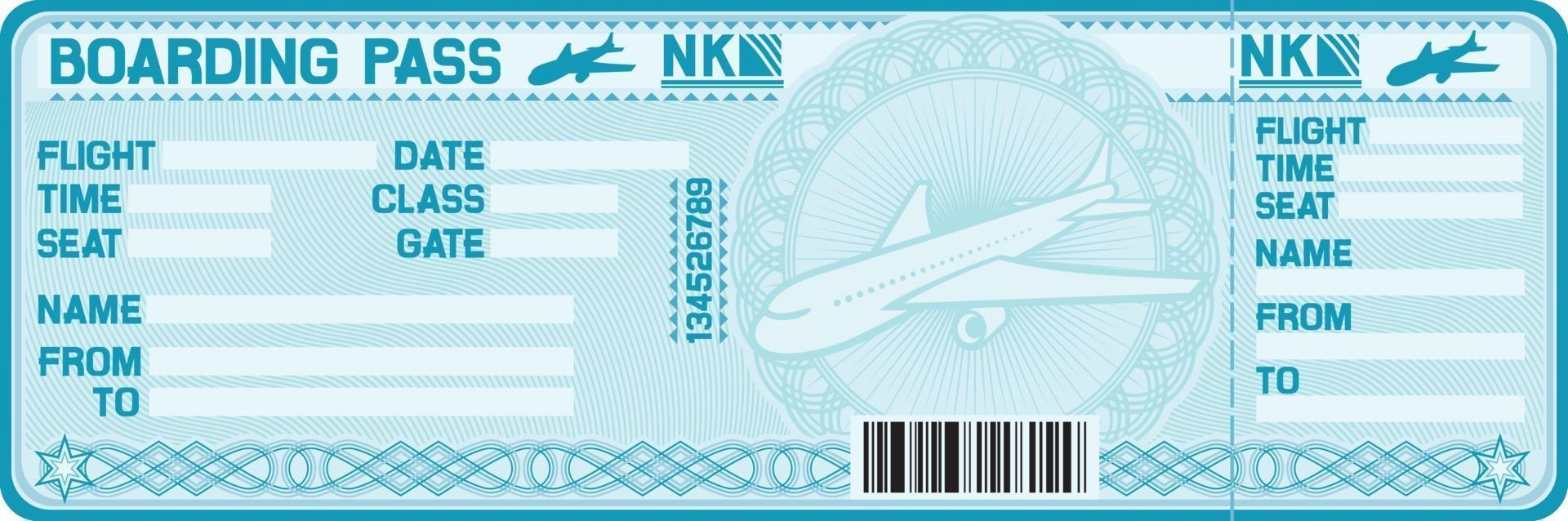 tarjeta de embarque azul vector