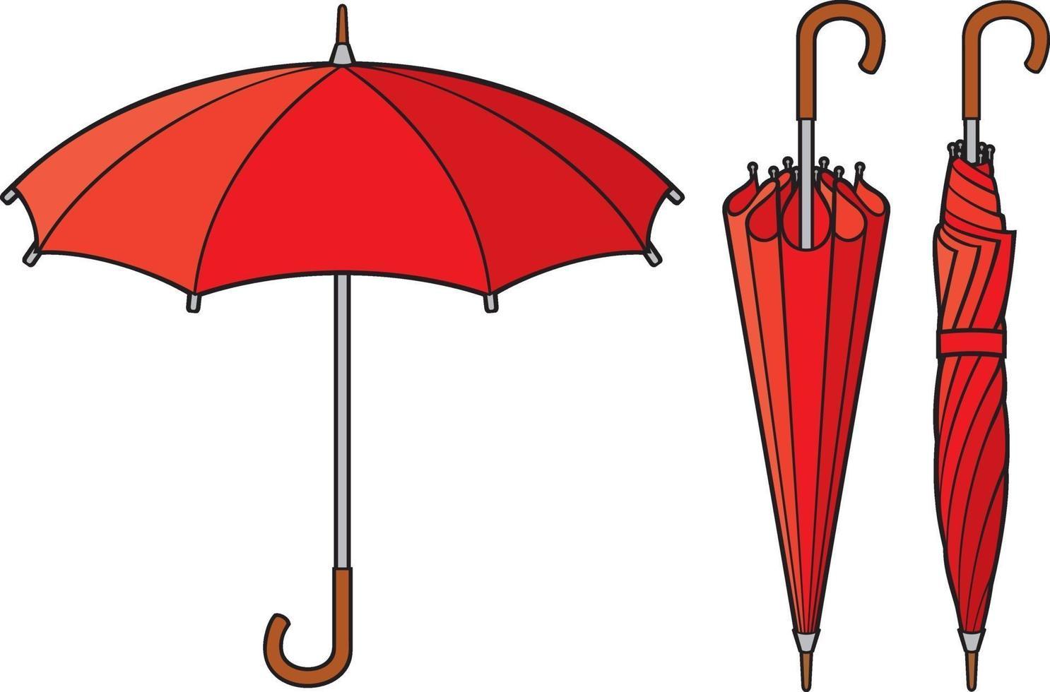 paraguas cerrado y abierto vector