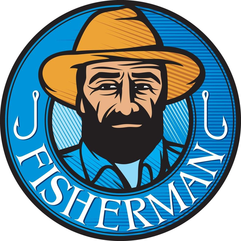 símbolo de pescador de color vector