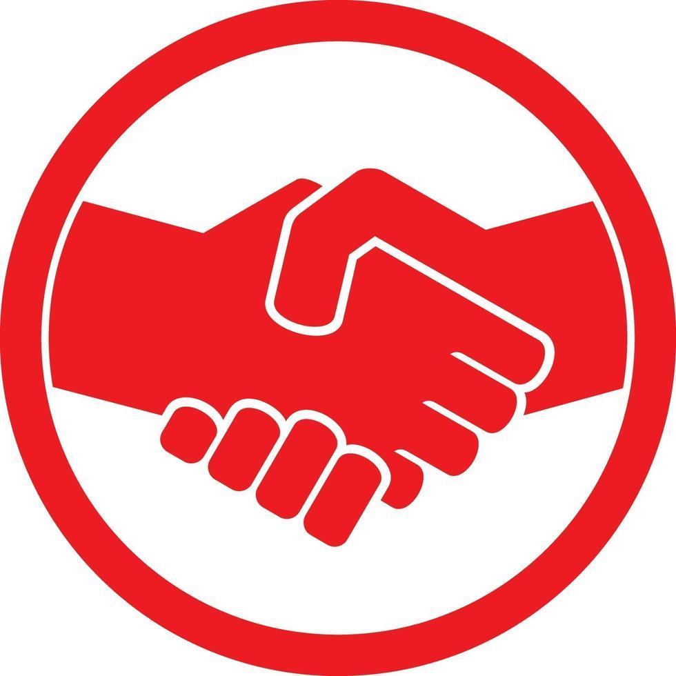 apretón de manos, símbolo rojo vector