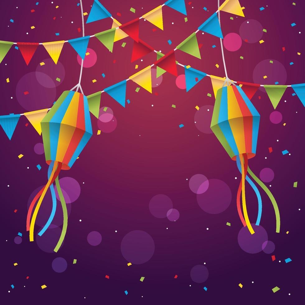 fondo del festival festa junina con confeti vector