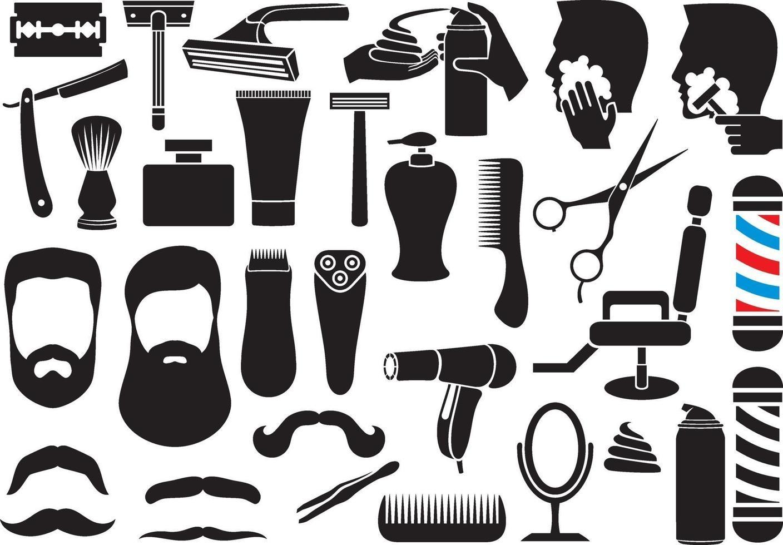 peluquero, salón, o, tienda, vector, iconos, conjunto vector