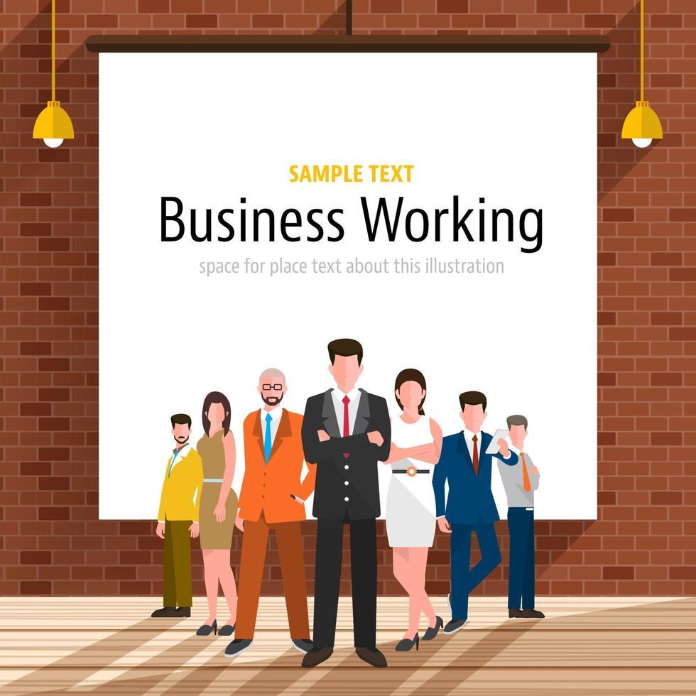stand de empresario en empresa vector