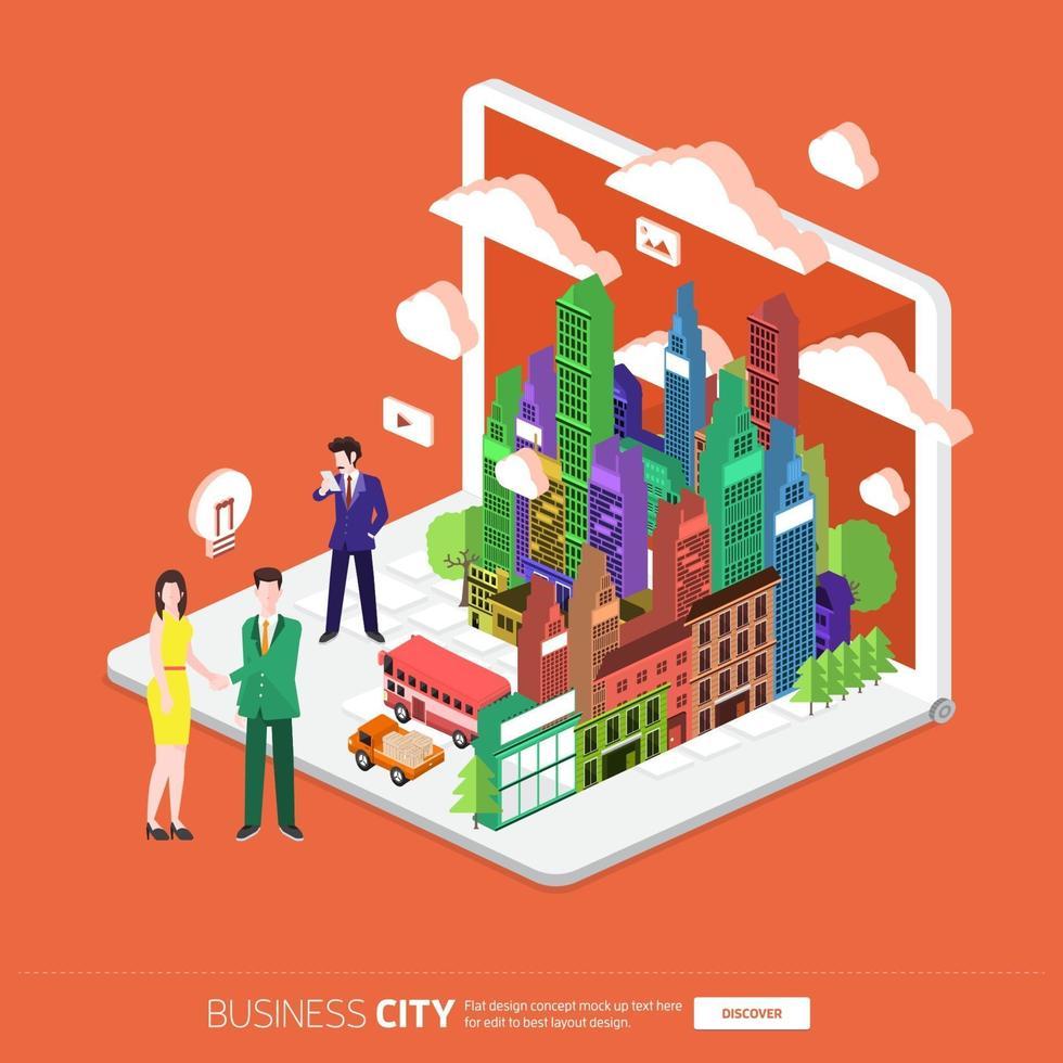 ciudad móvil isométrica vector