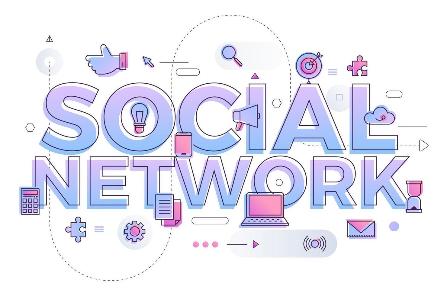 red social de palabra de negocios vector