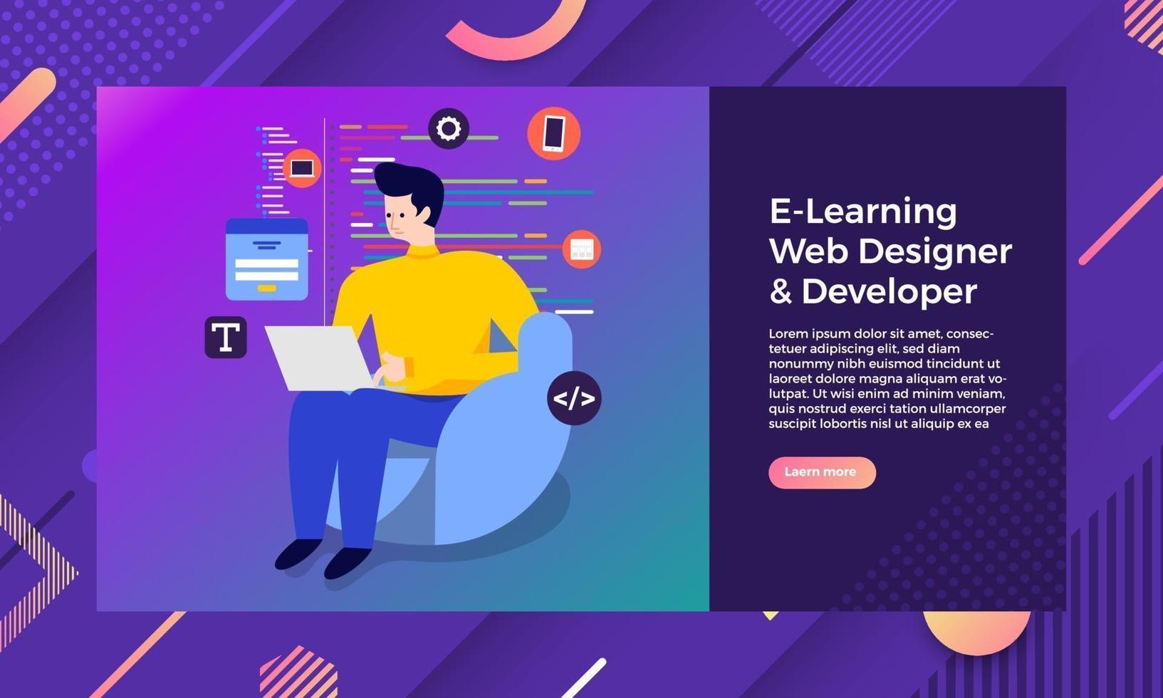 desarrollador diseñador web vector
