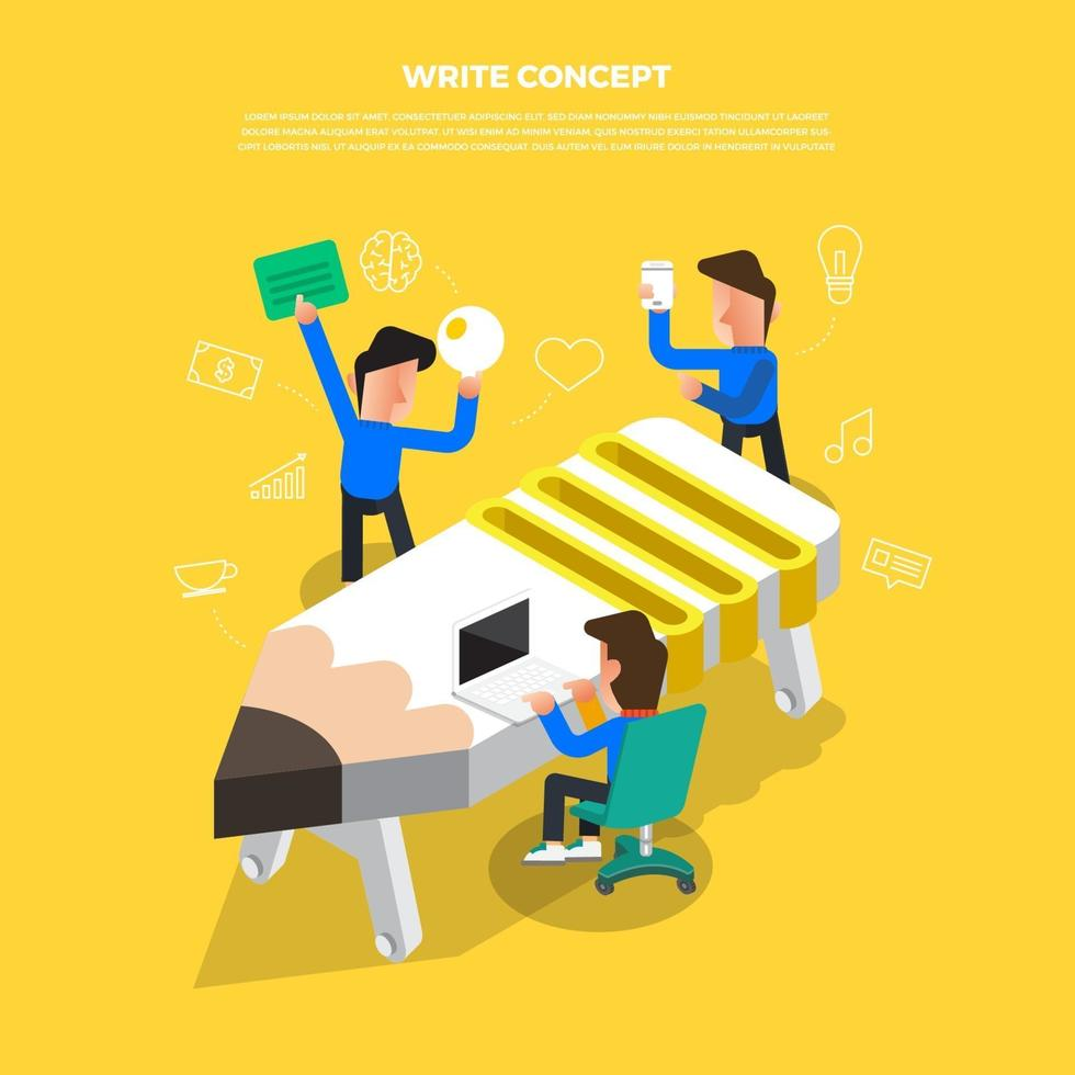 lluvia de ideas de concepto de diseño plano trabajando en lápiz de icono de escritorio. ilustrar el vector. vector