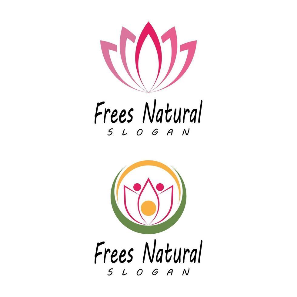 conjunto de iconos de plantilla de logotipo de diseño de flores de loto de vector de belleza