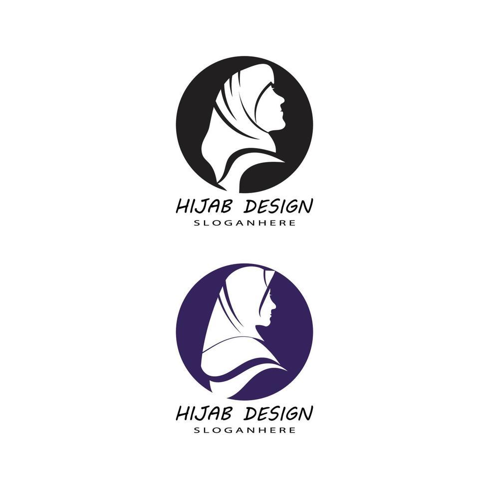 Muslimah hijab logo plantilla vector ilustración diseño conjunto