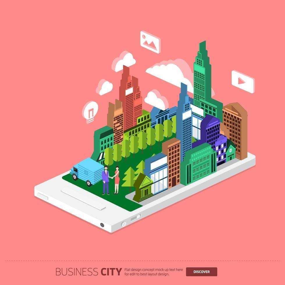 ciudad de negocios isométrica vector
