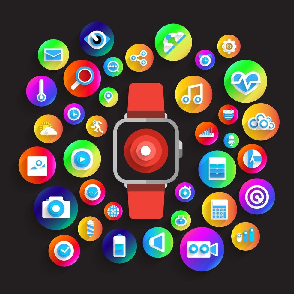 Illustrate smartwatch and icon vector
