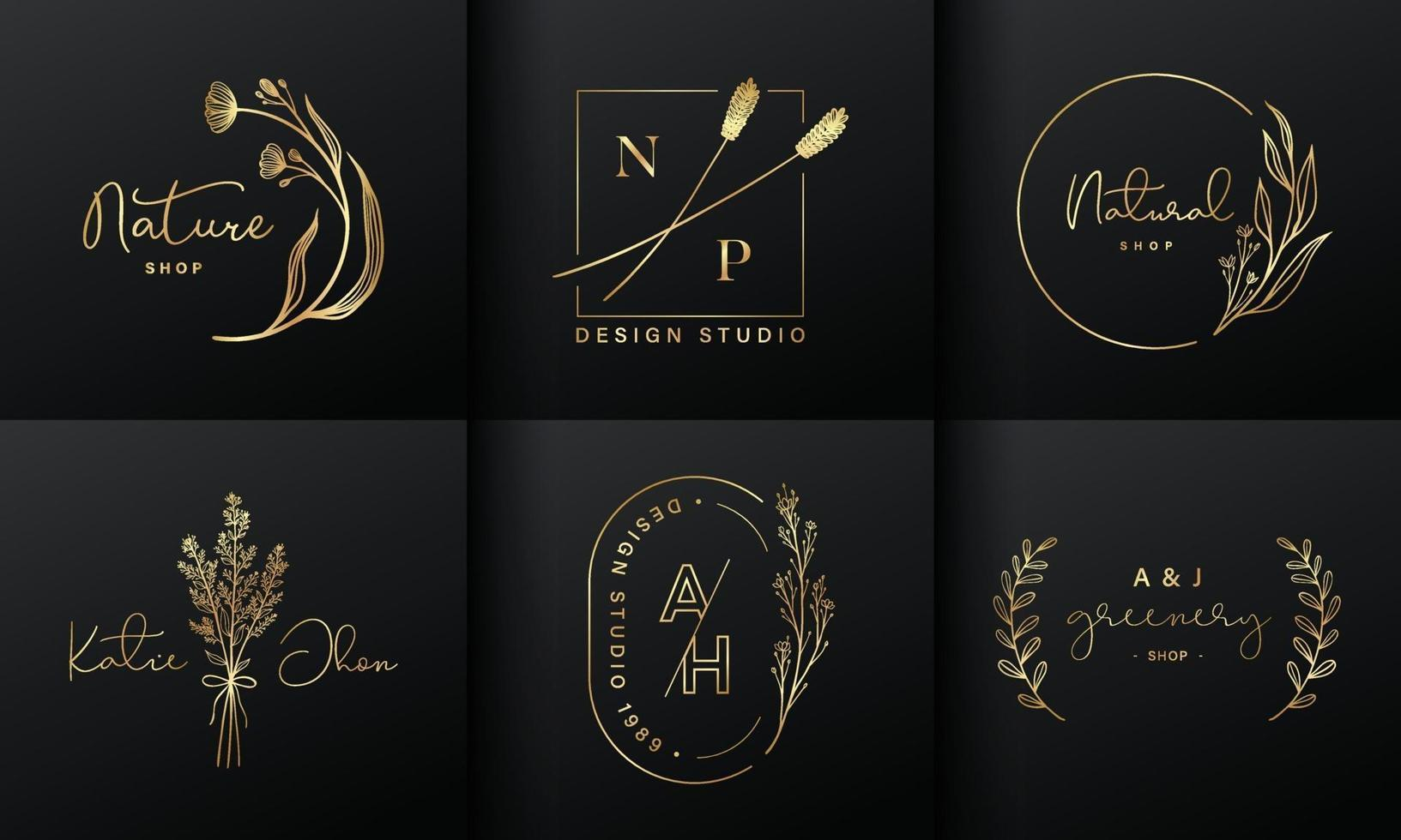 Luxury logo design collection. Golden emblems with initials and floral decorative for branding logo, corporate identity and wedding monogram design. vector