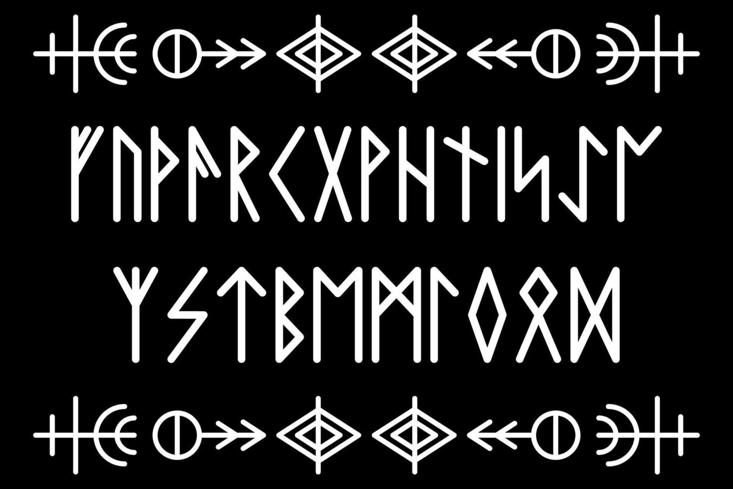 Rune alphabet. Ancient Viking characters letters. Mystical symbols. Esoteric, occult, magic. Vector illustration. Norse writing.
