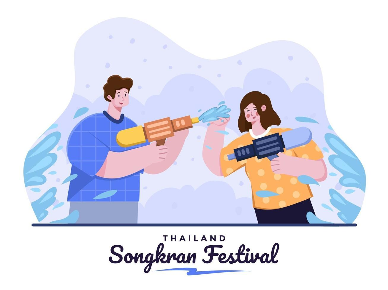 Person Celebrate Thailand Songkran festival with splashing water on each other with water gun. Thailand Water Festival Tradition. Songkran Festival Cartoon Illustration. Suitable For banner,poster etc vector