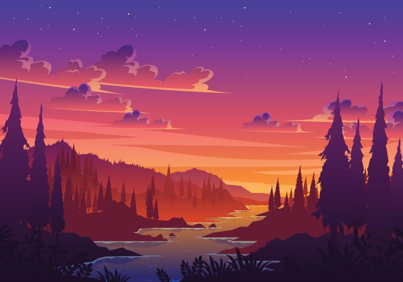 Sunset Valley Landscape Illustration vector