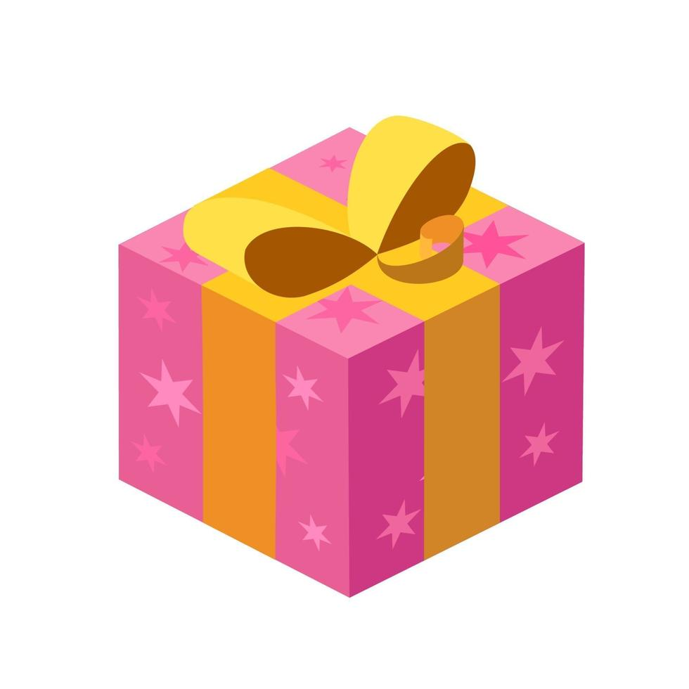 Purple shiny box with gifts, with a gold ribbon and stars on a white background. Isolated. Vector isometry illustration