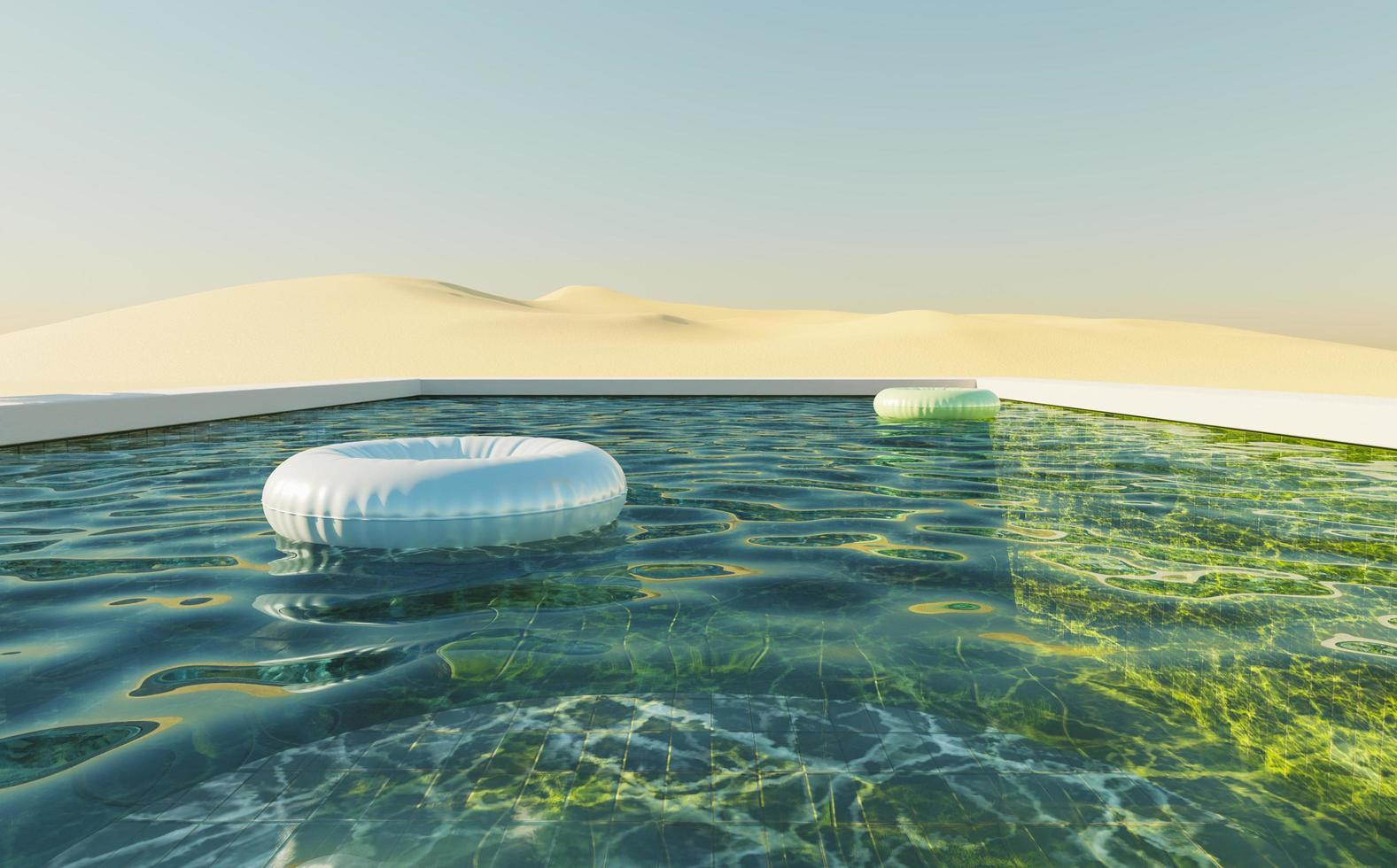 Green background pool in a dune desert with clear sky and floats in the water, 3d render photo