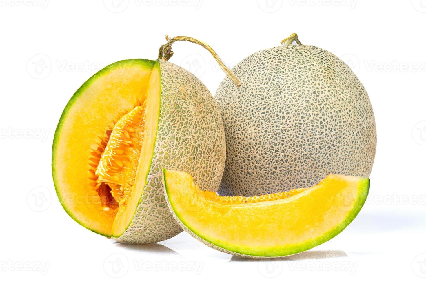 Fresh melons on a white background photo