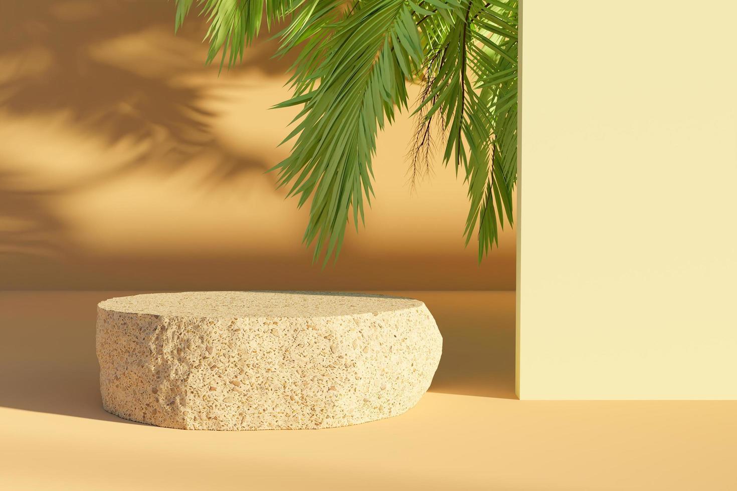 roca aplanada para la presentación del producto con hojas de palmera asomando y haciendo sombras, renderizado 3d foto