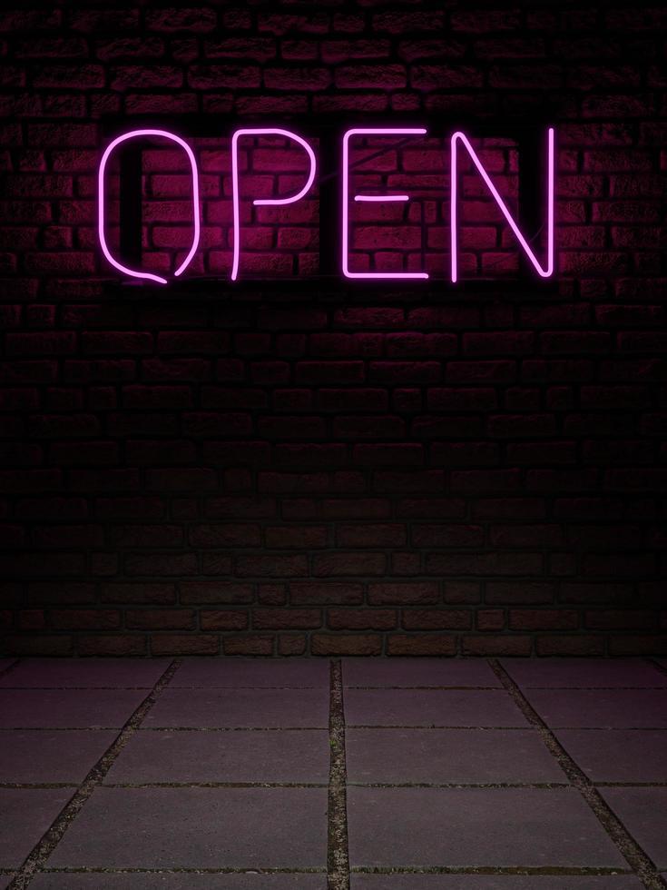 Representación 3d de un letrero de neón con la palabra abierta en luz rosa sobre una pared de ladrillos y piso de losa gris foto