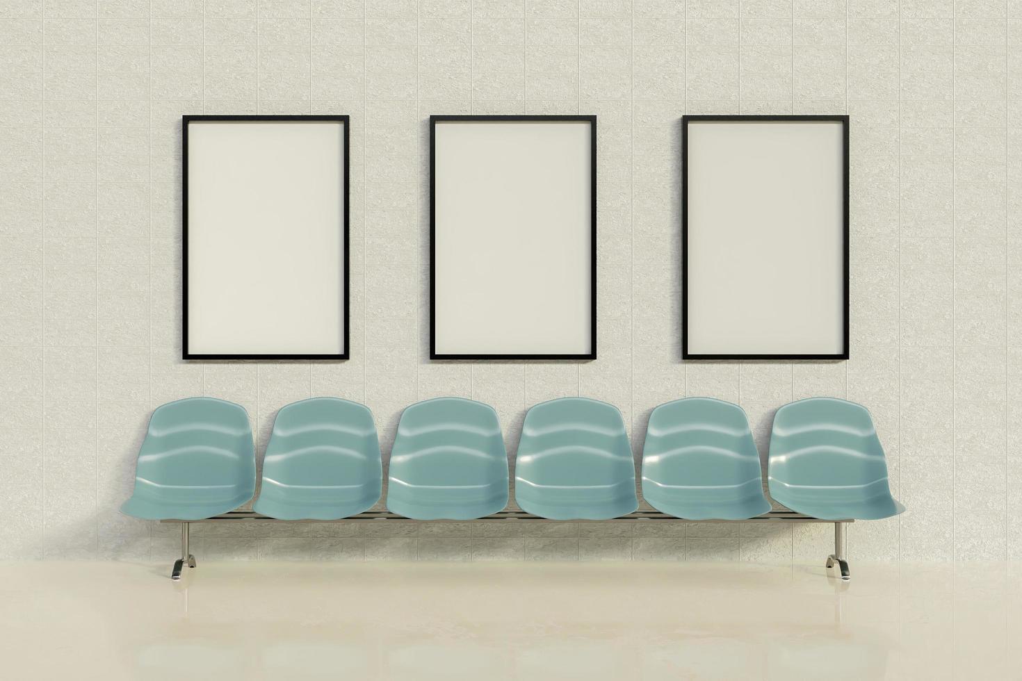 Maqueta de marcos publicitarios en una sala de espera con una fila de asientos, renderizado 3d foto