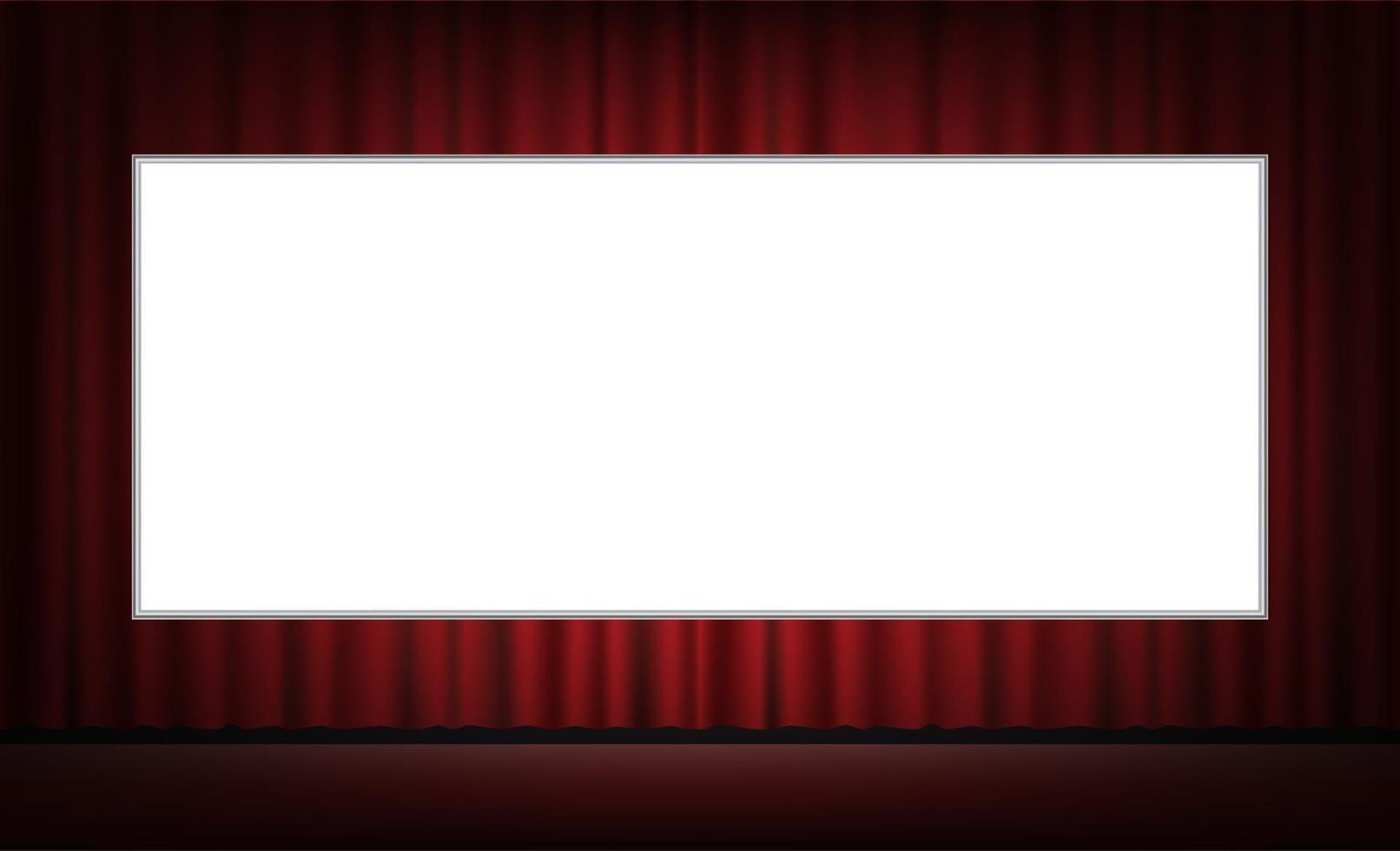 Pantalla de película blanca con fondo de cortina roja vector