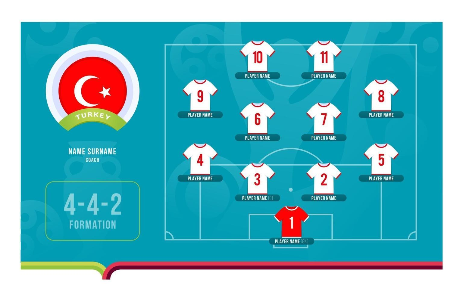 Turkey line-up Football tournament final stage vector illustration