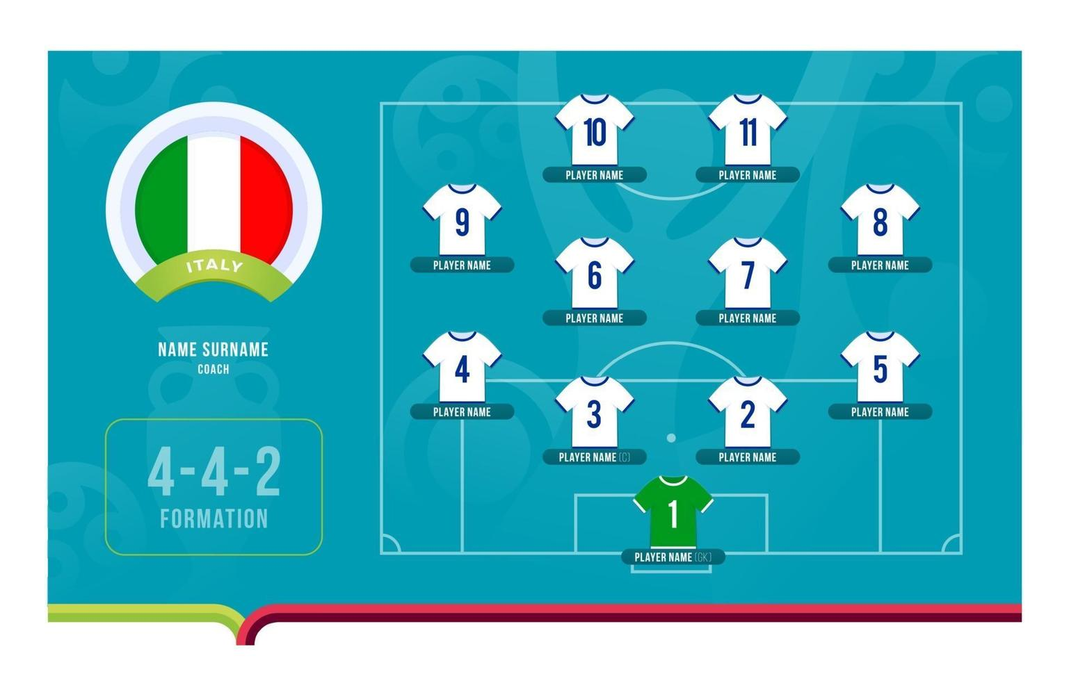 Italy line-up Football tournament final stage vector illustration