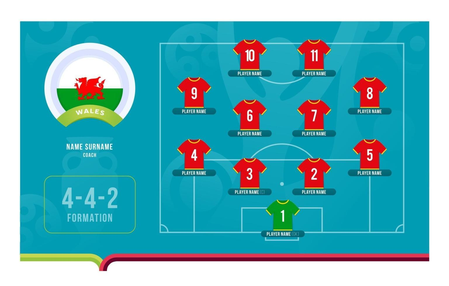 Wales line-up Football tournament final stage vector illustration