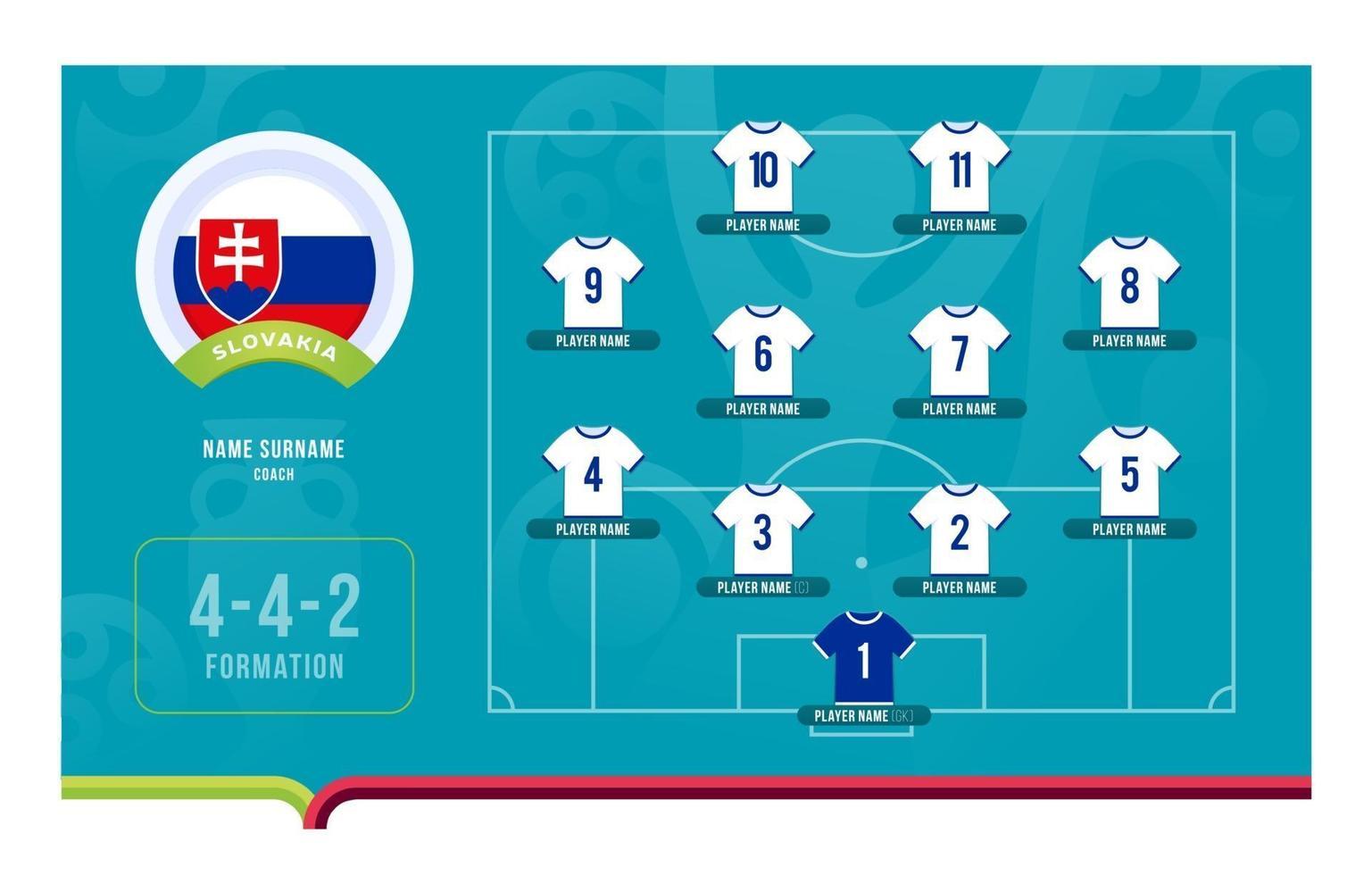 Slovakia line-up Football tournament final stage vector illustration
