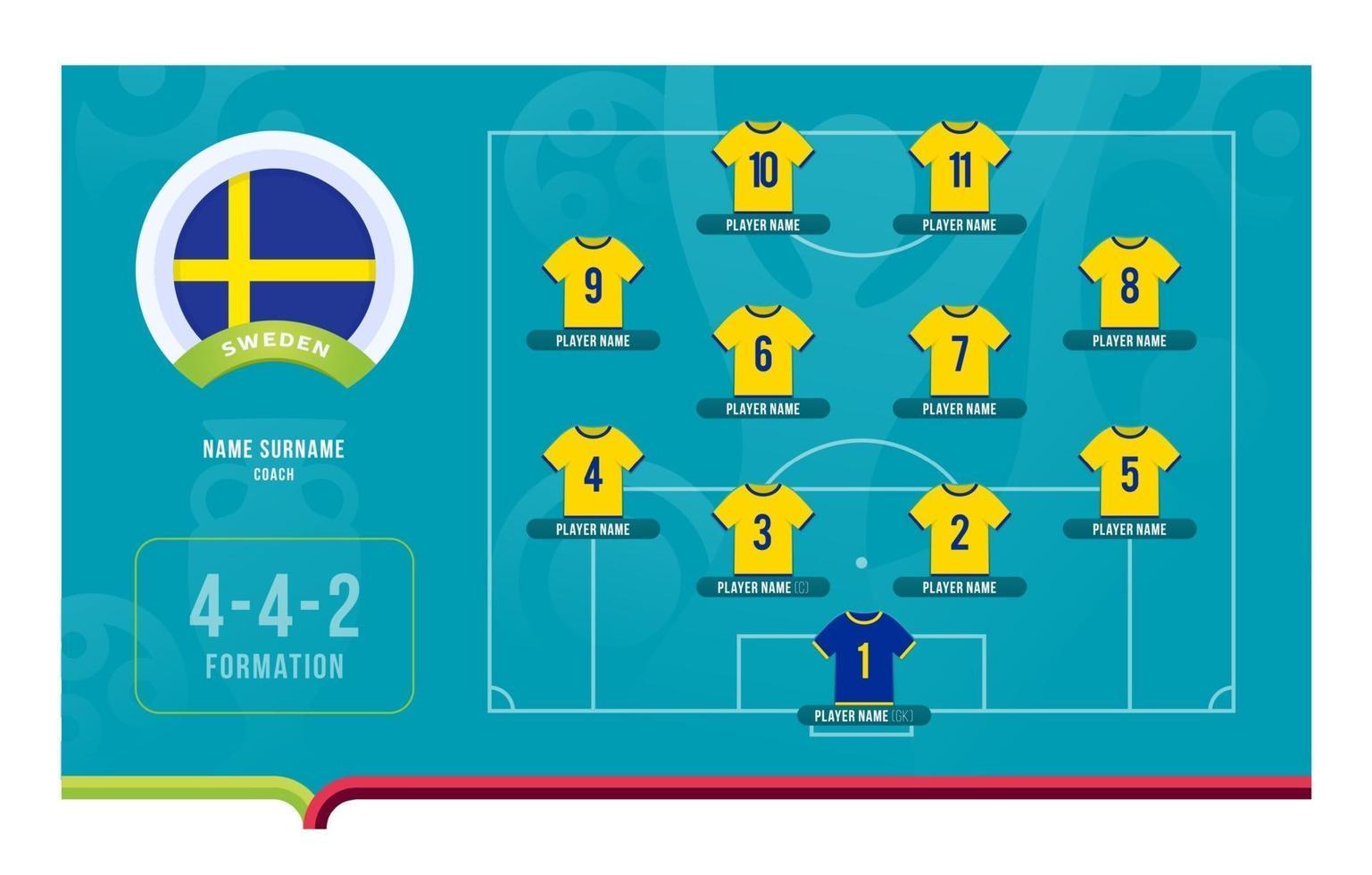 Sweden line-up Football tournament final stage vector illustration