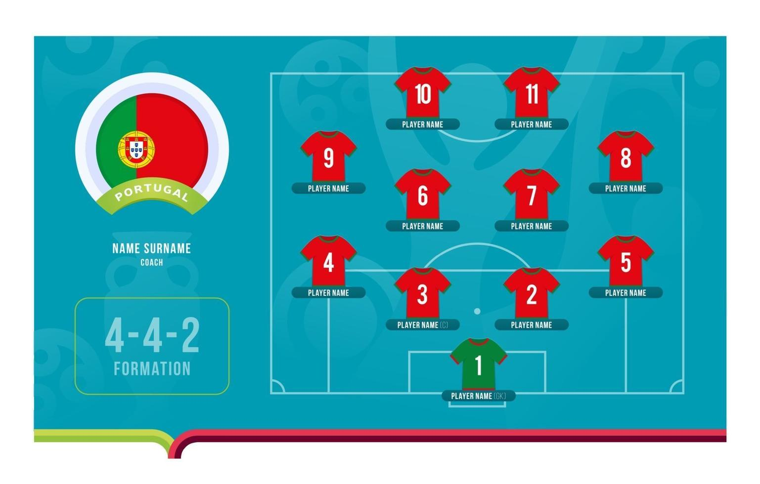Portugal line-up Football tournament final stage vector illustration