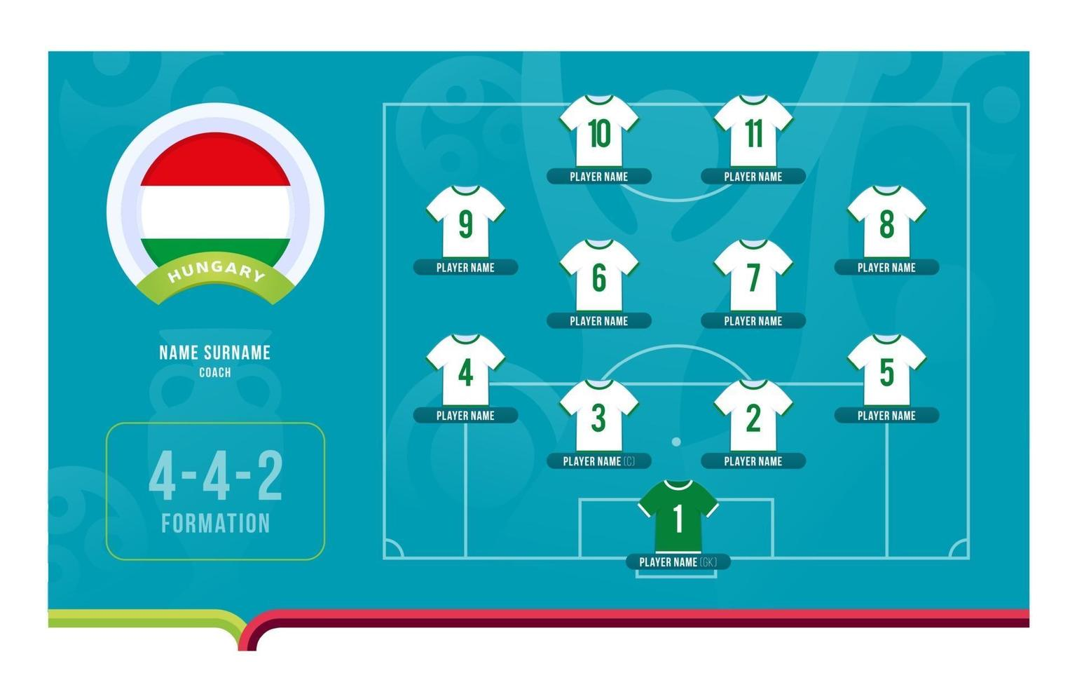 Hungary line-up Football tournament final stage vector illustration