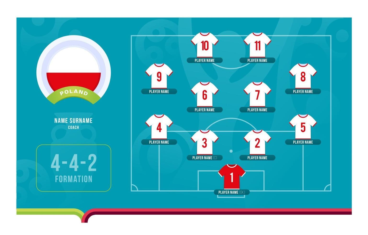 Poland line-up Football tournament final stage vector illustration