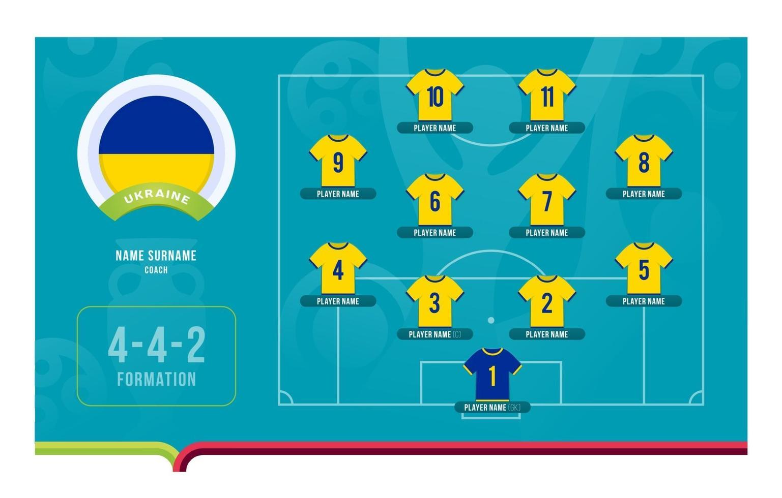 Ukraine line-up Football tournament final stage vector illustration