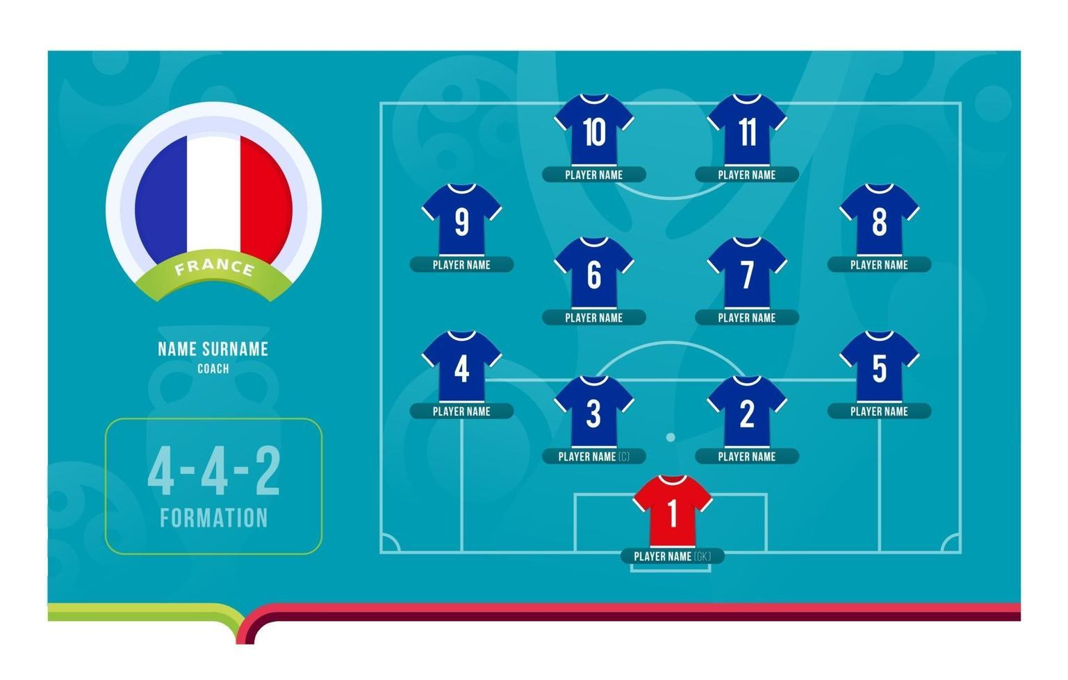 France line-up Football tournament final stage vector illustration