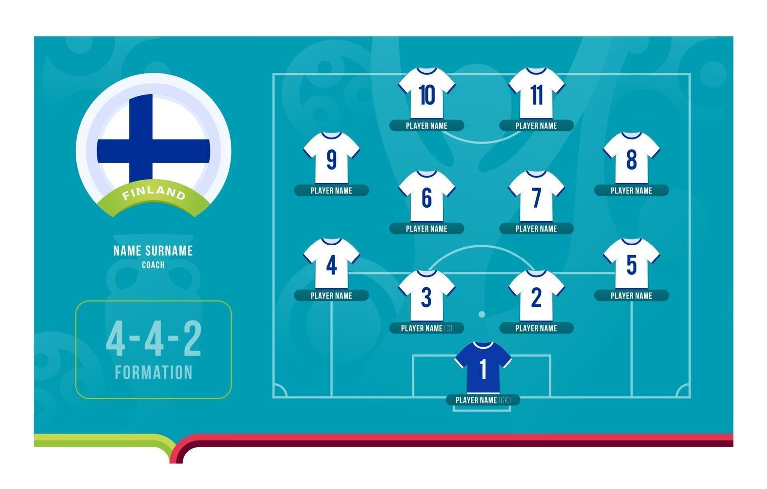 Finland line-up Football tournament final stage vector illustration