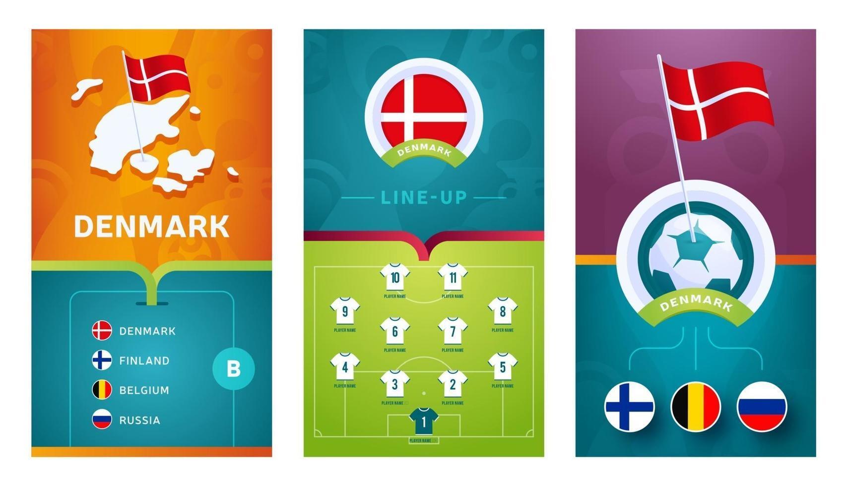 Denmark team European football vertical banner set for social media vector