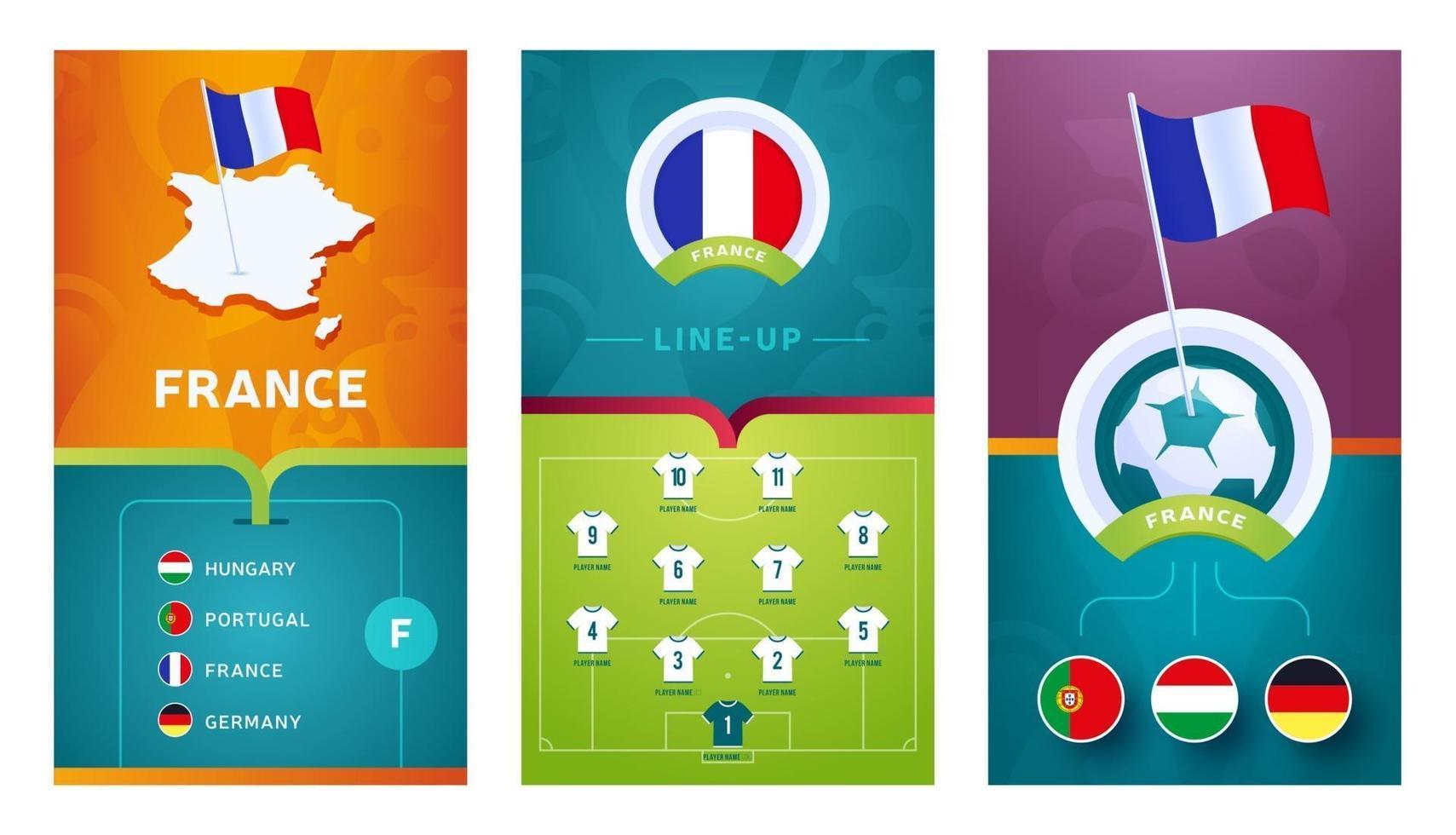 France team European football vertical banner set for social media vector