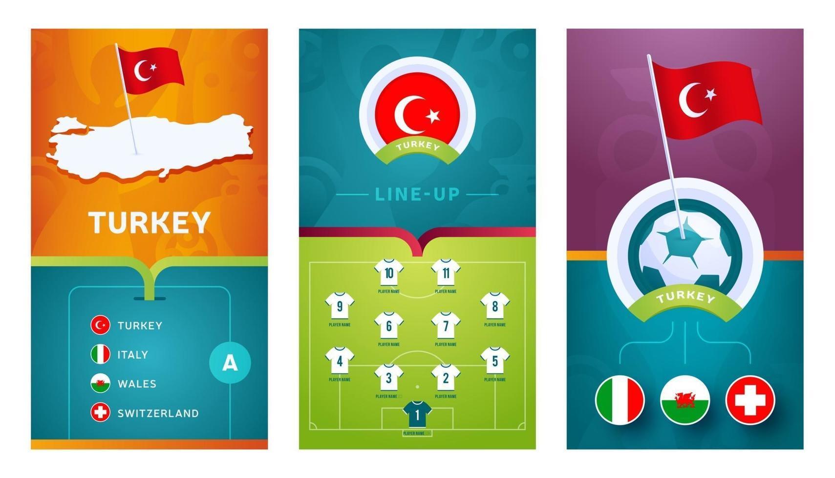turkey team European football vertical banner set for social media vector