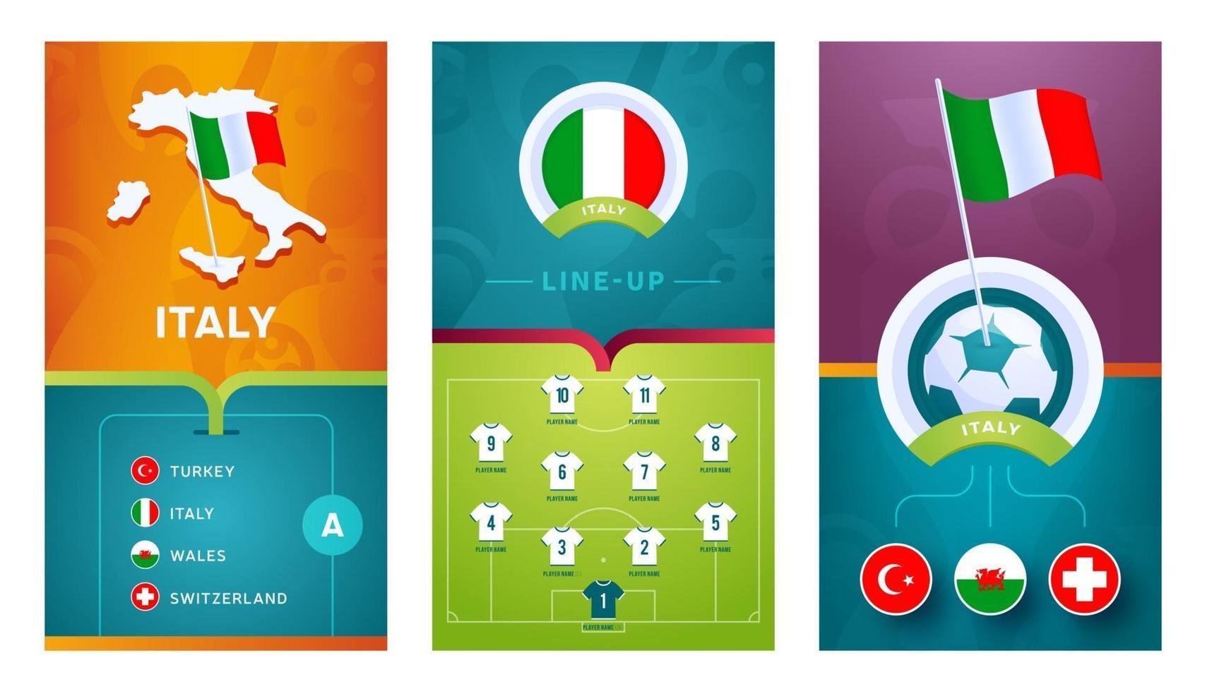 italy team European football vertical banner set for social media vector