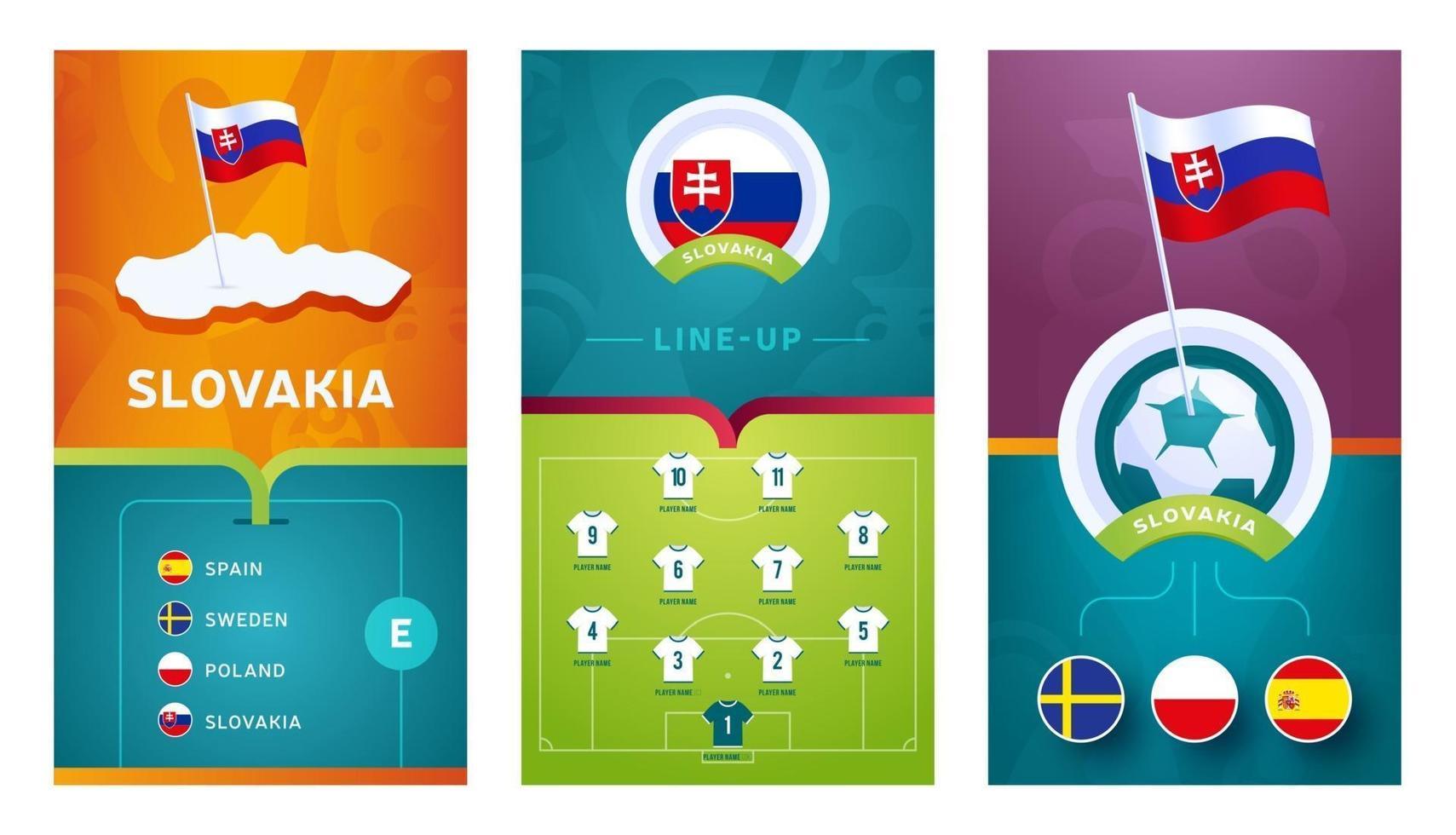 Slovakia team European football vertical banner set for social media vector
