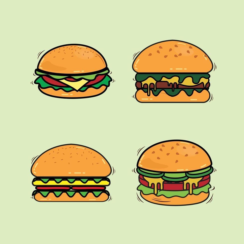 line vector illustration of a fast food burger set
