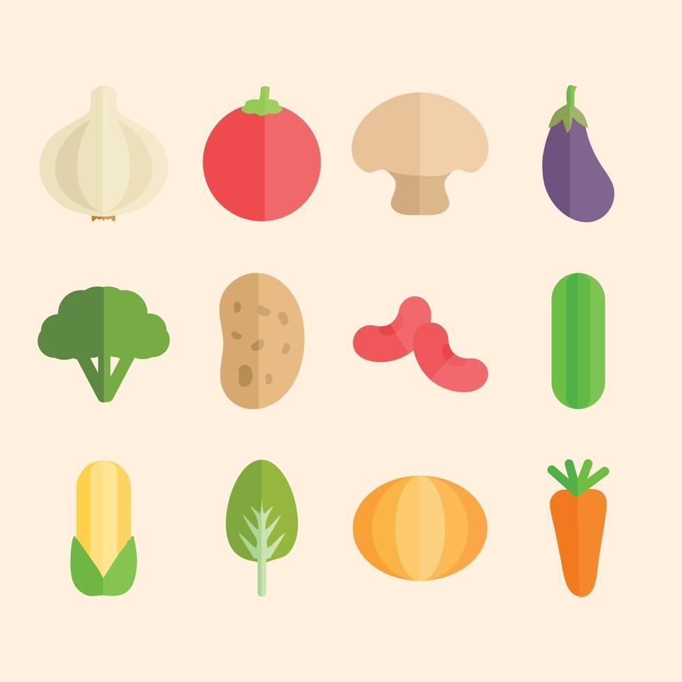 vector illustration icon of vegetables in flat design style set