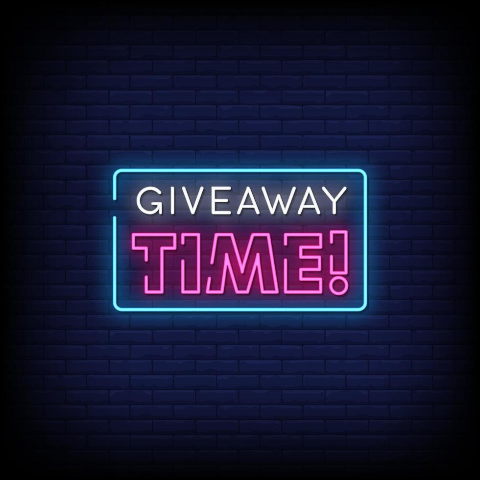 Giveaway Time Neon Signs Style Text Vector