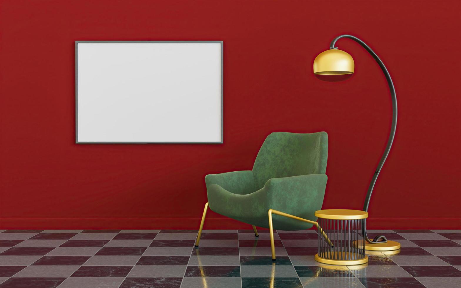 interior minimalista con lámpara, sofá y maqueta de un lienzo foto