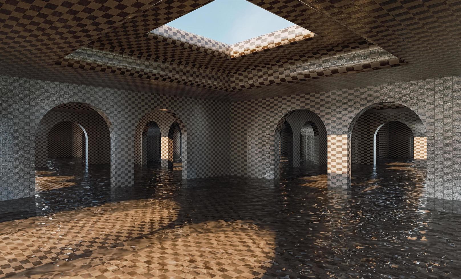 galería inundada de arcos con textura de mosaico foto